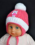 Утепленная зимняя детская шапка для девочек , фото 3