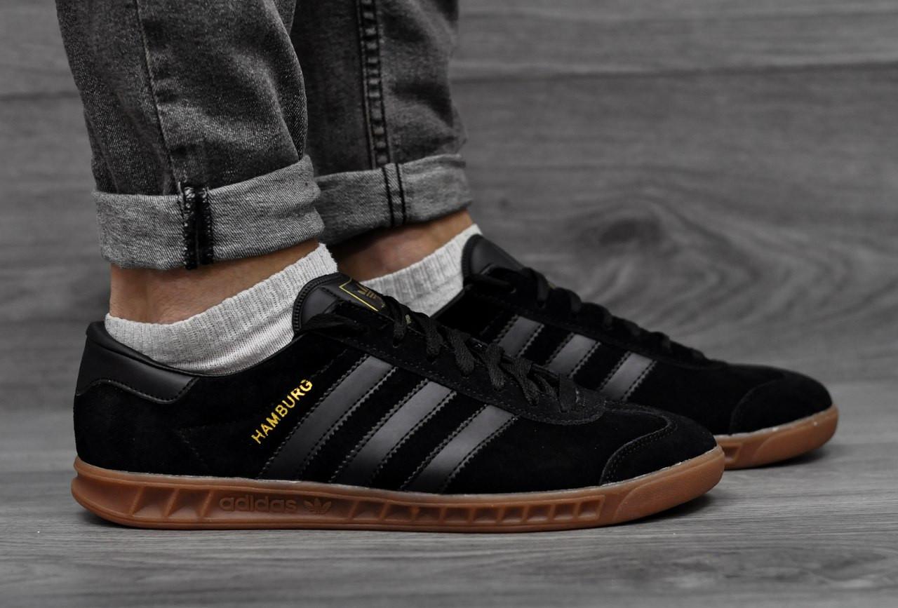 Adidas Hamburg, черные  замша, повседневные