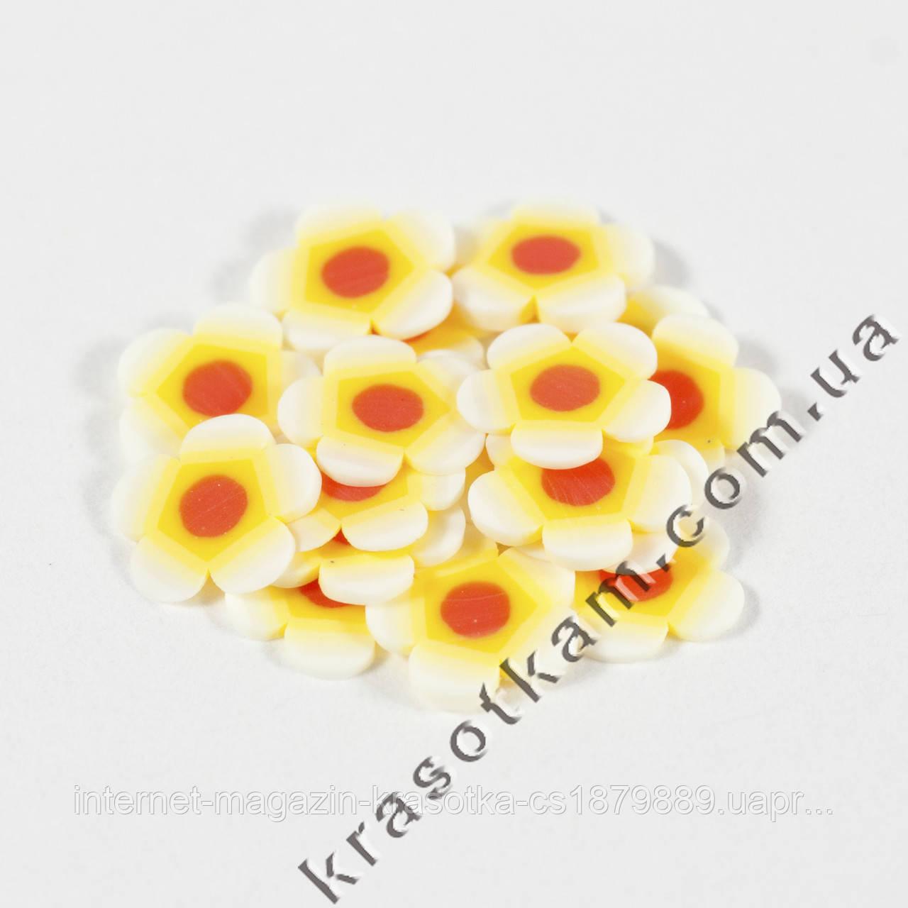Фимо цветок жёлто-белый красная середина 20шт.
