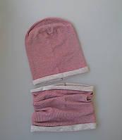 Комплект: шапочка бини со снудом. Бордовый. Размер: 48-50, 50-52, 52-54,54-56 см, фото 1