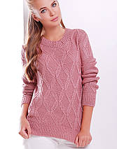 Женский вязаный свитер с фигурными ромбами (17 mrs), фото 2