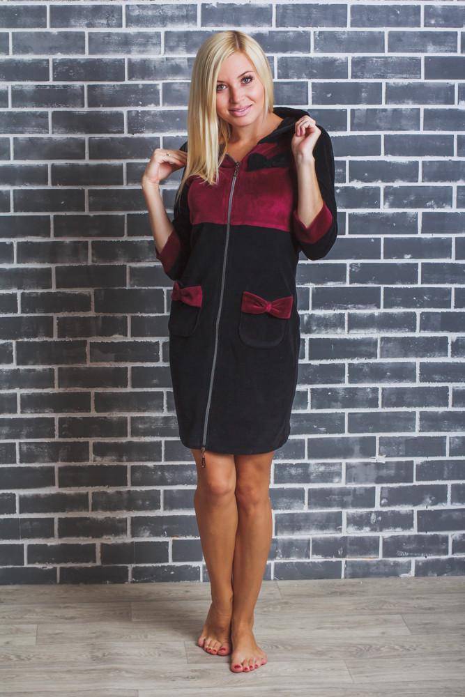 Домашний женский велюровый халат черный+бордо