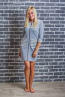 Домашний женский халат  светло-серый, фото 1