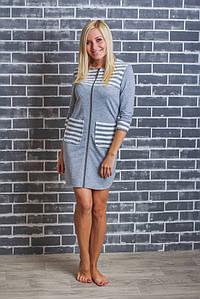 Домашний женский халат  светло-серый