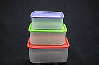 Лоток прямоугольный 3 в 1 (контейнеры пищевые 0,8л + 1,2л + 1,9л)
