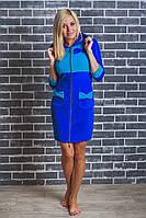 Домашний женский велюровый халат электрик, фото 1