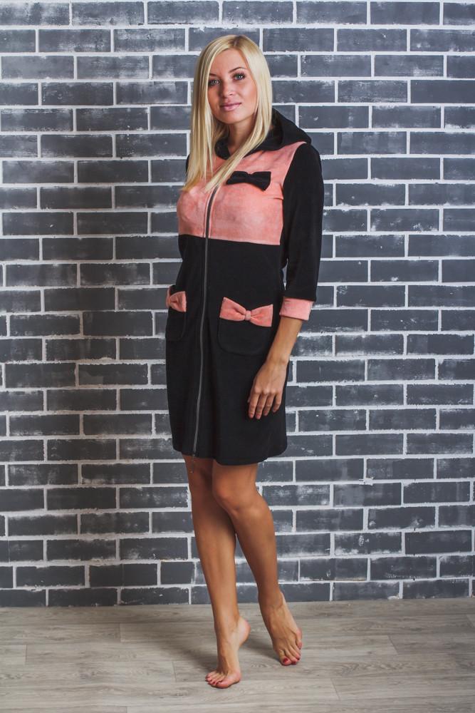 Домашний женский велюровый халат черный+персик
