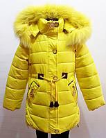 Модная зимняя куртка-парка для девочки 1,5-5  лет цвет - желтый