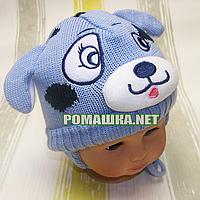 Детская зимняя вязанная термо шапочка р. 42 на завязках для новорожденного ТМ Мамина мода 3214 Голубой