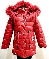 Модная зимняя куртка-парка для девочки 1,5-5  лет цвет - красный