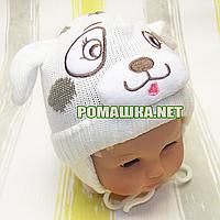 Детская зимняя вязанная термо шапочка р. 44 на завязках для новорожденного ТМ Мамина мода 3214 Бежевый