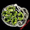 Кольцо р7  зелёный ПЕРИДОТ камни 6x4mm