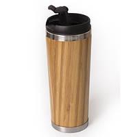 Термокружка металлическая с бамбуковым покрытием
