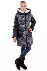 Зимнее пальто с мехом в капюшоне для девочки