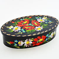 Украинские сувениры. Шкатулка деревянная. Незабудки