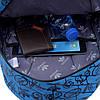Городской рюкзак Adidas синий с черными рисунками (реплика), фото 3