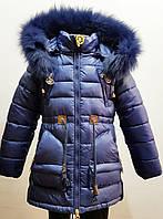 Модная зимняя куртка-парка для девочки 1,5-6  лет цвет - синий