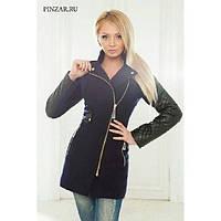Комбинированное приталенное пальто на молнии
