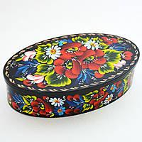 Украинский сувенир. Шкатулка деревянная. Маковый букет