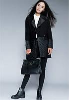 Комбинированное пальто с воротником с лацканами