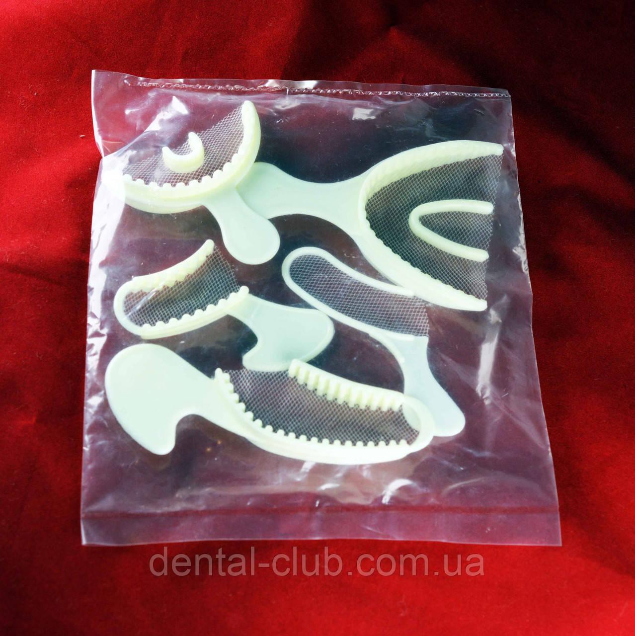 Набор пластмассовых оттискных ложек с сетчатым капроновым ложем для зубов(ложка с сеткой 5 шт) - Dental-Club в Киеве