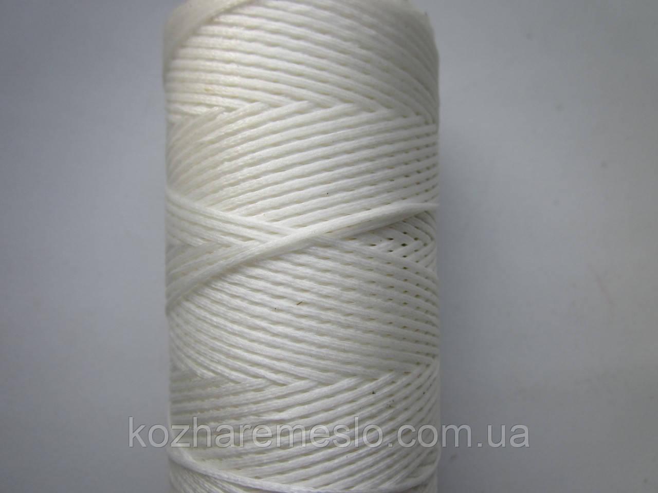 Нить вощёная плоская 1 мм белая 500 метров
