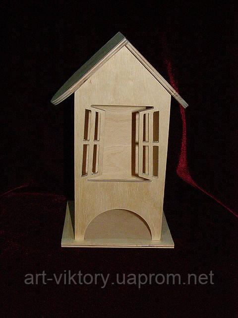 Чайный домик для декупажа открытые окна (10 х 10 х 23 см)