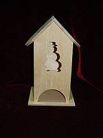 Чайный домик для декупажа снеговик (10 х 10 х 23 см)