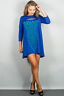 Женское стильное платья с накаткой цвет электрик размер 44-54