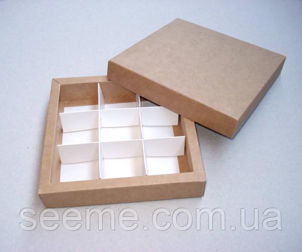 Коробка подарочная из крафт картона для конфет 145х145х30 мм, цвет бурый
