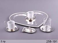 """Кофейный набор """"Сердце"""" 5 предметов на подставке 258-191"""