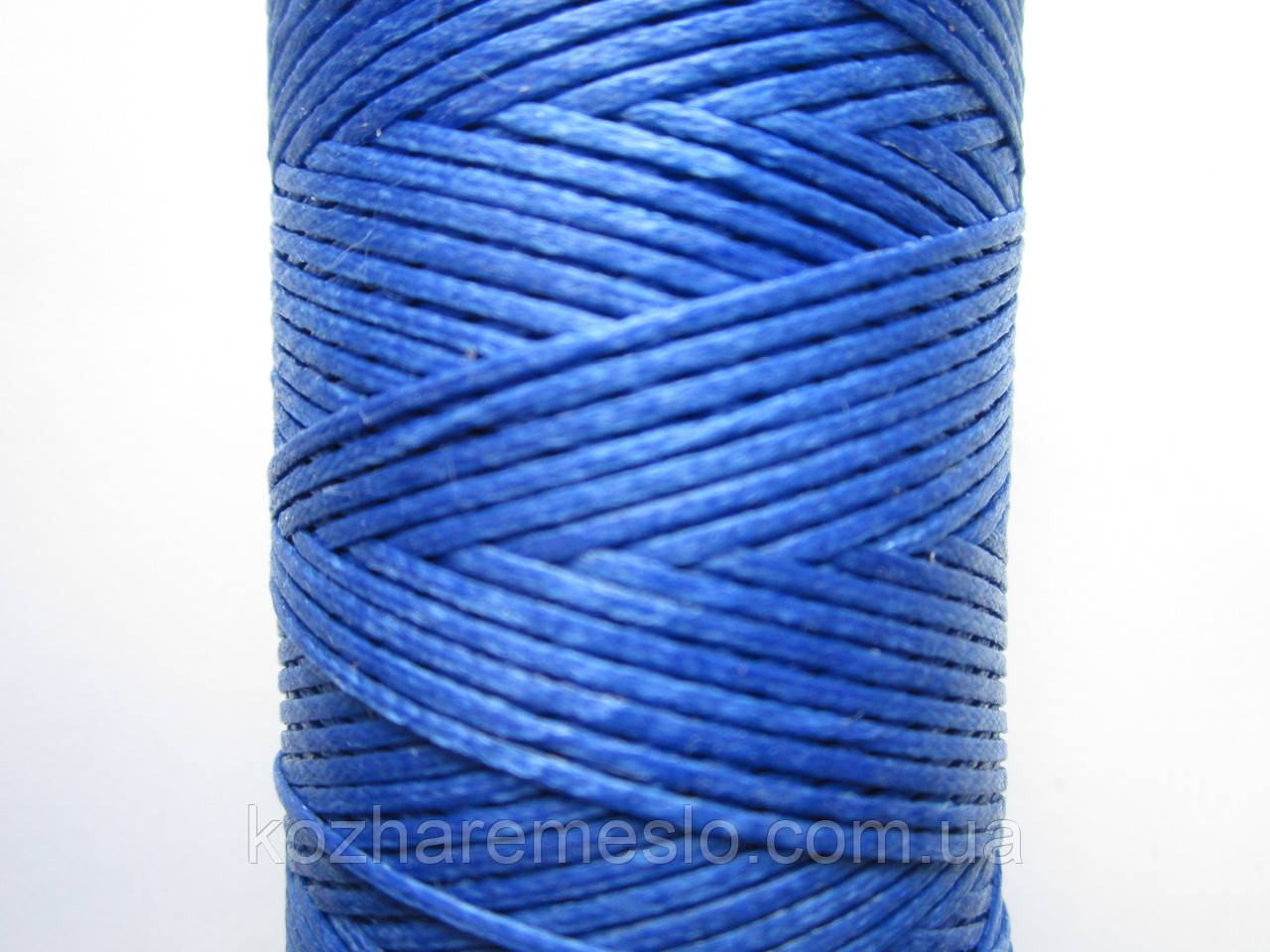 Нить вощёная плоская 0,8 мм синяя 100 метров