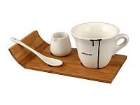 Кофейный набор 3 предмета, на деревянной подставке 150 мл , 22х8х11 см 263-628