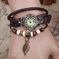 Женские часы плетеный ремешок brown