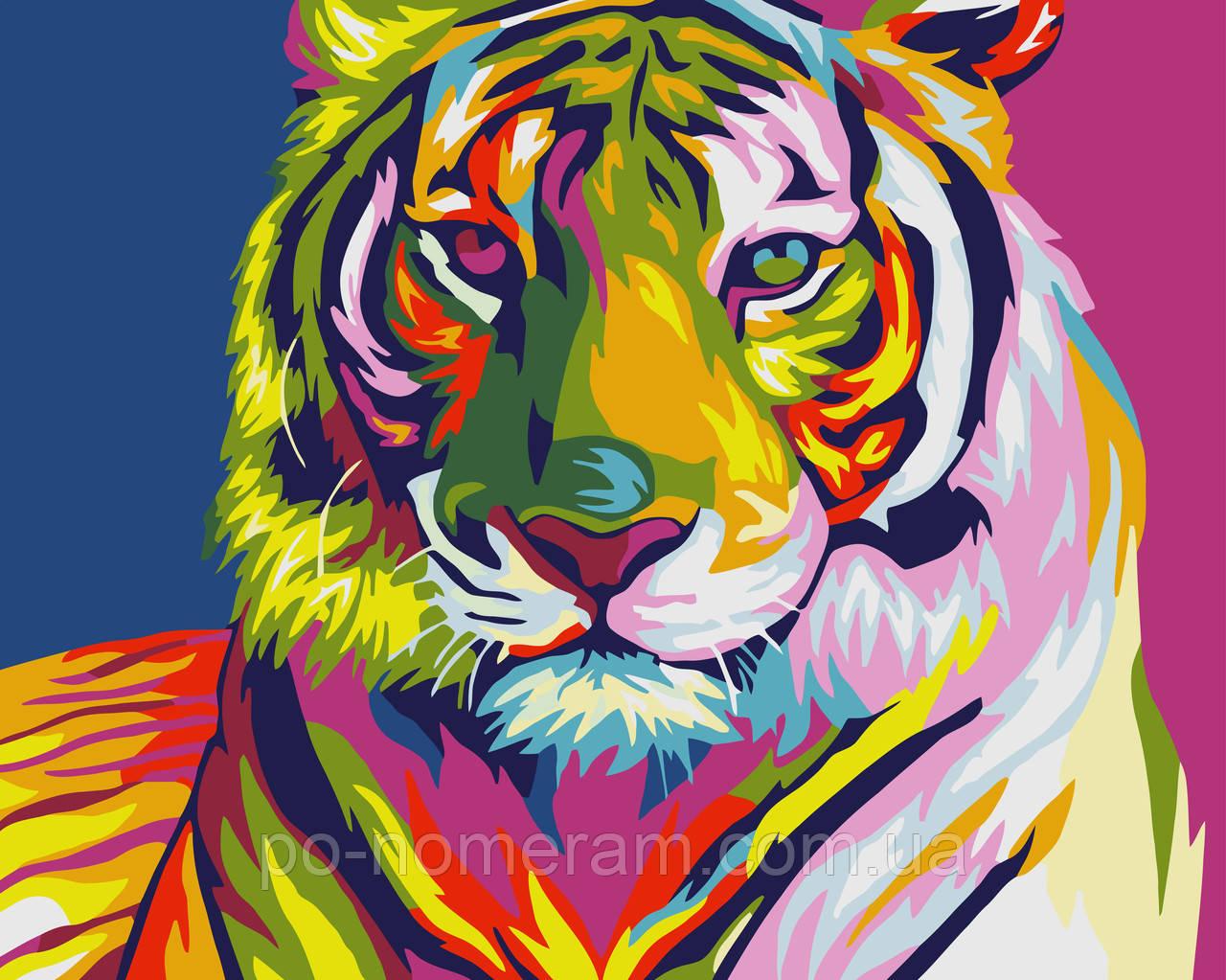 Картини за номерами Идейка Тигр поп-арт (KHO2436) 40 х 50 см (Без коробки)