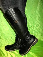 Зимние черные кожаные сапоги низкий ход