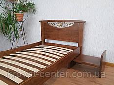 Прикроватный столик выдвижной из натурального дерева