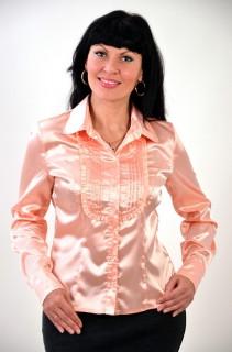 Блуза женская атласная персик