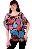 Блуза кимано шифоновая летняя свободная туника пляж 022-5
