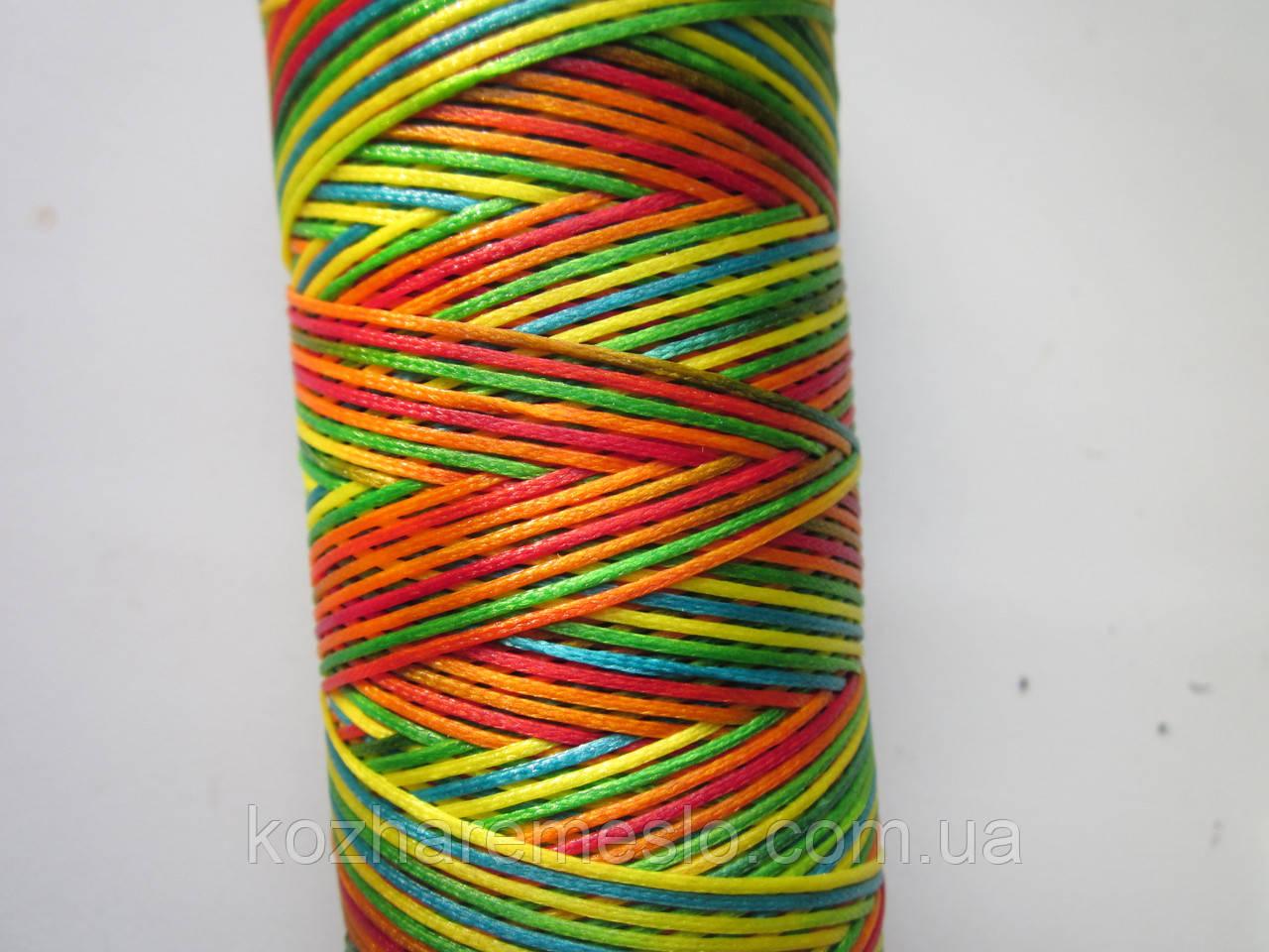 Нить вощёная плоская 1 мм разноцветная (африкано) 125 метров