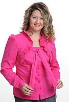 Блуза женская , хлопок , малиновая стрейч,с длинным рукавом, 48,50,52, (Бл 032).