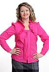 Блуза женская , хлопок , малиновая стрейч,с длинным рукавом, 48,50,52, (Бл 032)., фото 2