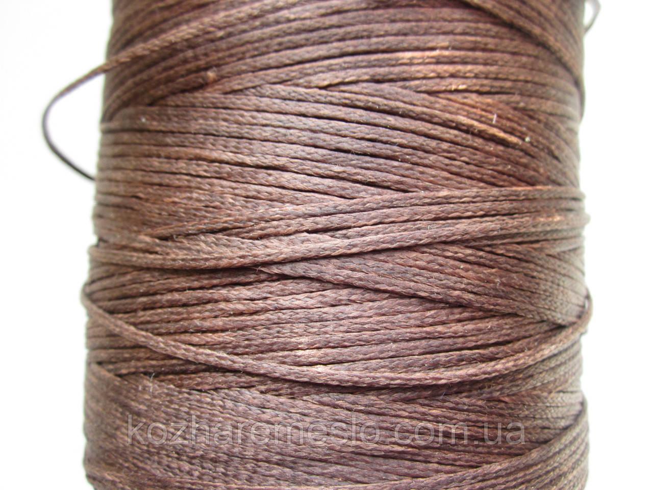 Нить вощёная плоская 1,4 мм коричневая