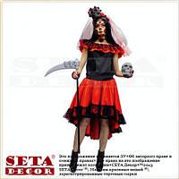 Прокат костюм Санта Муэрте красно-чёрный