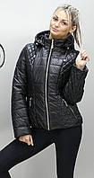 Женская куртка весна осень большой размер КМ-1 черная 40-74 размеры
