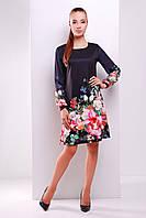 Трикотажное платье черного цвета с цветочным принтом и шифоновыми рукавами.ЧЕРНЫЙ БУКЕТ ПЛАТЬЕ ТАНА-1Ф (ШИФОН)