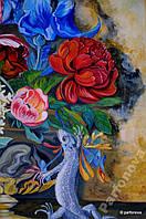 Картина Натюрморт цветы Пионы ирисы бабочки тюльпаны ваза мрамор розы сирень дикие травы