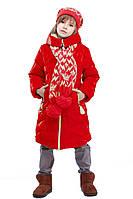 Куртка зимняя с шарфиком Ярина на девочку рост 116, 122, 128,134,140,146,152, 158 Украина, алый