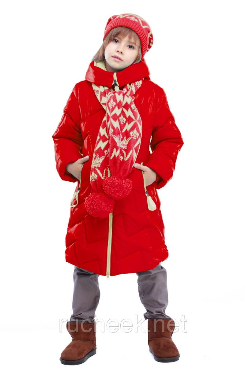Куртка зимняя с шарфиком Ярина на девочку рост 116, 122, 128,152, 158, Украина Украина, алый - Интернет-магазин Ручеек - детская и женская одежда в Днепропетровской области
