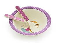 Детская тарелка с приборами FISSMAN из бамбукового волокна PT-8817.3
